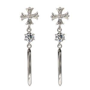 Silver classical cross crystal earrings